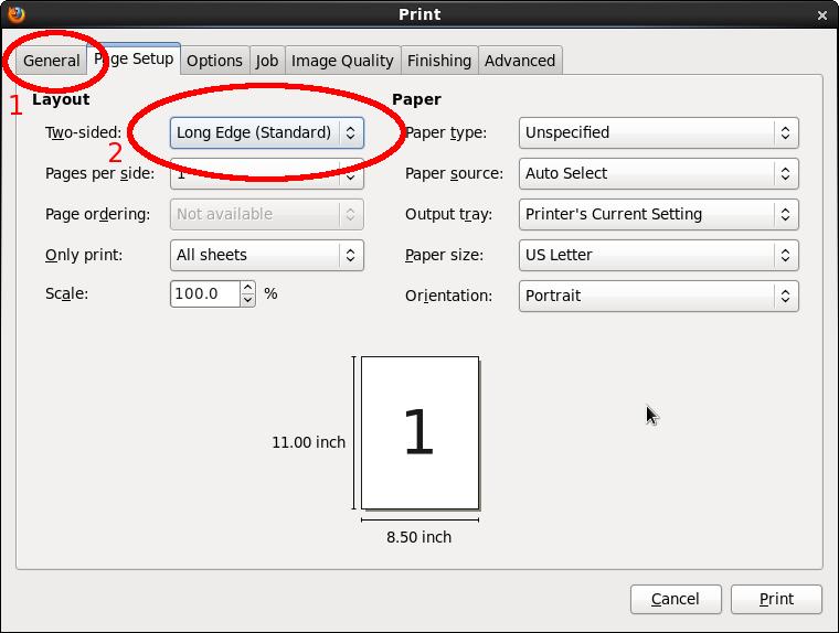 duplex printing to lw